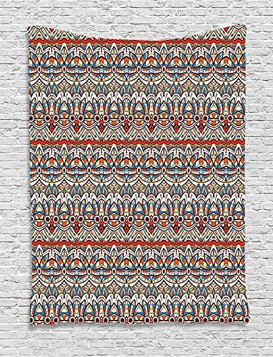 asddcdfdd Ethnic Tapestry, Floral Aztec Illustration Antique Indigenous Pattern from Ancient Culture, Wall Hanging for Bedroom Living Room Dorm, 60 W X 80 L Inches, Orange Blue Beige by asddcdfdd