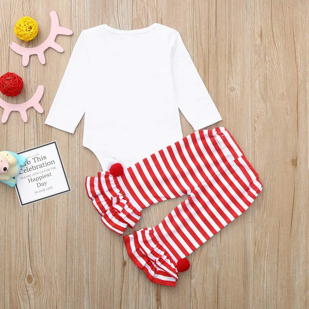 Newborn Baby Girl Letter Print Long Sleeve Romper Striped Print Pants Valentines Day Outfits for 0-18 Months TM Jchen