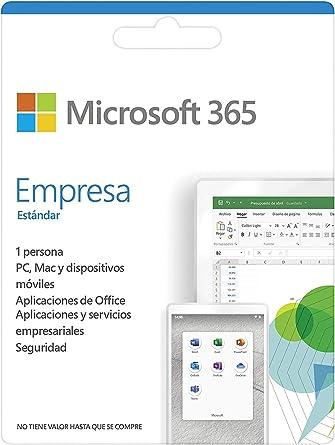Microsoft 365 Empresa Estándard, Suscripción annual, una licencia, incluye aplicaciones de Office instaladas en 5 teléfonos, 5 tabletas, 5 PCs o equipos Mac, 1 persona | Windows, iOS, Android | Box: Amazon.es: Software