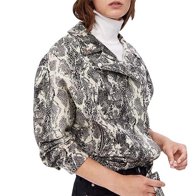 Yvelands Outwear para Mujer Abrigo de Invierno Estampado de Serpiente Béisbol Blusa Cremallera Solapa Chaqueta Blusa Superior: Amazon.es: Ropa y accesorios