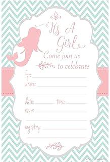 Amazoncom Glitter Mermaid Baby Shower Invitations 10ct