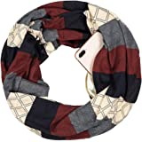 Women Men Geometric Stripe Extreme Soft Stretchy Knit Travel Secure Zipper Pocket Infinity Scarf