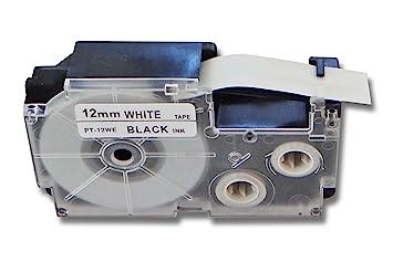 5x DRUCKER SCHRIFTBAND KASSETTE 9mm SCHWARZ-WEIß für CASIO KL-60 KL-120