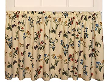 Kitchen Curtains 36 inch kitchen curtains : Amazon.com: Audrey Floral Print Tailored Tiers Curtains Pair 68 ...