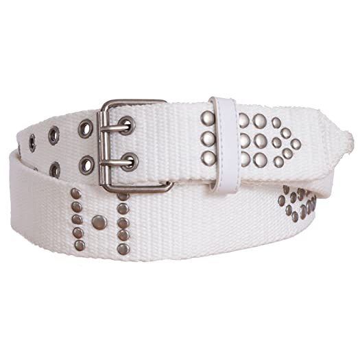 4e366759a Sunny Belt Women's Trendy Military Canvas Belt with Metal Studs (White, S/M)  at Amazon Women's Clothing store: