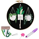 Embroidery Kits with Pattern for Beginners Starter,YOUYOUTE Full Range of Stamped Cross Stitch Kit with Embroidery Hoop…