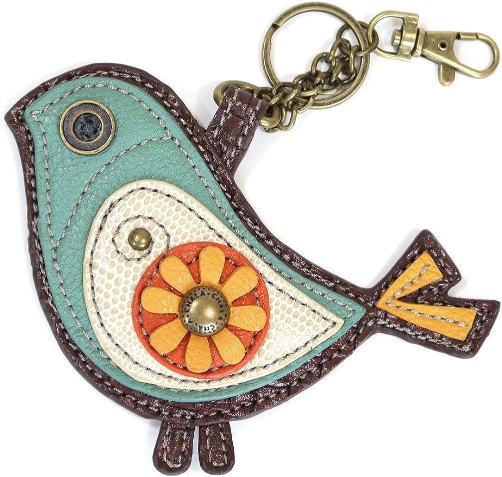Chala Faux-Leather Coin Purse Key fob Blue Bird