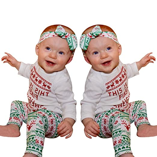 odeer baby christmas costumes baby boys girls romperpantsheadband christmas outfit set