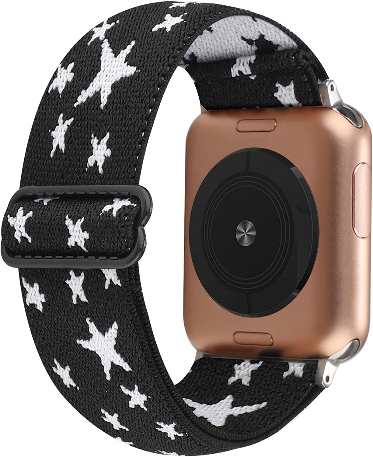 Stretchy Nylon Solo Loop Bands Compatible with Apple Watch 38mm 40mm, Adjustable Stretch Braided Sport Elastics Women Men Strap Compatible with iWatch Series 6/5/4/3/2/1 SE 38mm 40mm White Stars