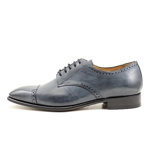GIORGIO REA Zapatos Para Hombre Gris Zapatos de Cordones Hechos a Mano EN Italia, Abarcas, Mocasines, hebillas, Elegante, Azul, de Alta Costura Brogue ...