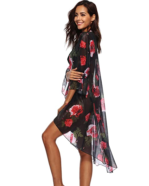 d8a076df270 sankill Womens Floral Chiffon Cardigan Capes Kimono Cover Up Blouse Printed  Bikini Covers Beach (Black