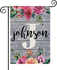 Personalized Spring Garden Flags 12.6 x 18.5 Double Sided Welcome Garden Flag Spring Summer Decor Indoor Outdoor Spring Flag with Family Name and Initial(W/O Flag Pole)
