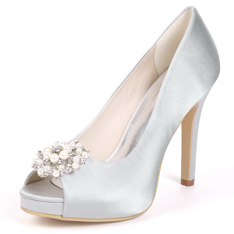 Elobaby Zapatos De Boda De Las Mujeres Party Sexy Fashion Peep Toe Tacones Altos Vestido Bombas Kitten/11cm Heel 35 EU|Silver
