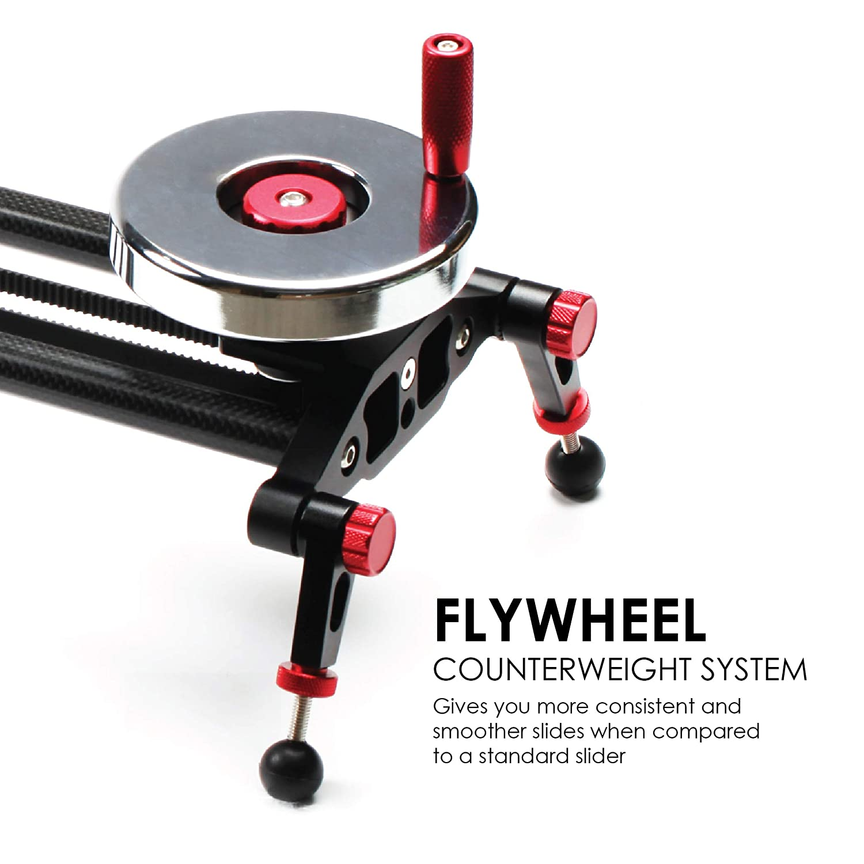 "adjustable legs light carbon fiber rails Kamerar 31/"" Fluid Motion Video Slider: flywheel stabilizer for filming dslr camera//camcorder stabilization track counterweight tripod mount ready"