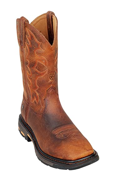 23b5c8bc0 Ariat Workhog Men s Toast Brown Square Toe Western Work Boots  Amazon.co.uk   Shoes   Bags