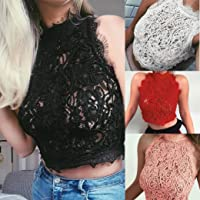 Dacawin Womens Ladies Sleeveless Lace Crop Tops Blouse Summer Party Vest Top T-Shirt