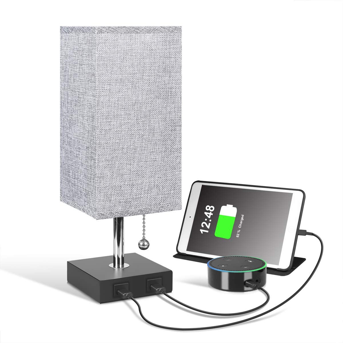 USB Bedside Table Lamp, Aooshine Modern Table & Desk Lamp, Solid Wood Nightstand Lamp with Grey Fabric Shade, Ambient Light and 2 Useful USB Charging Port Perfect for Bedroom, Living Room or Office