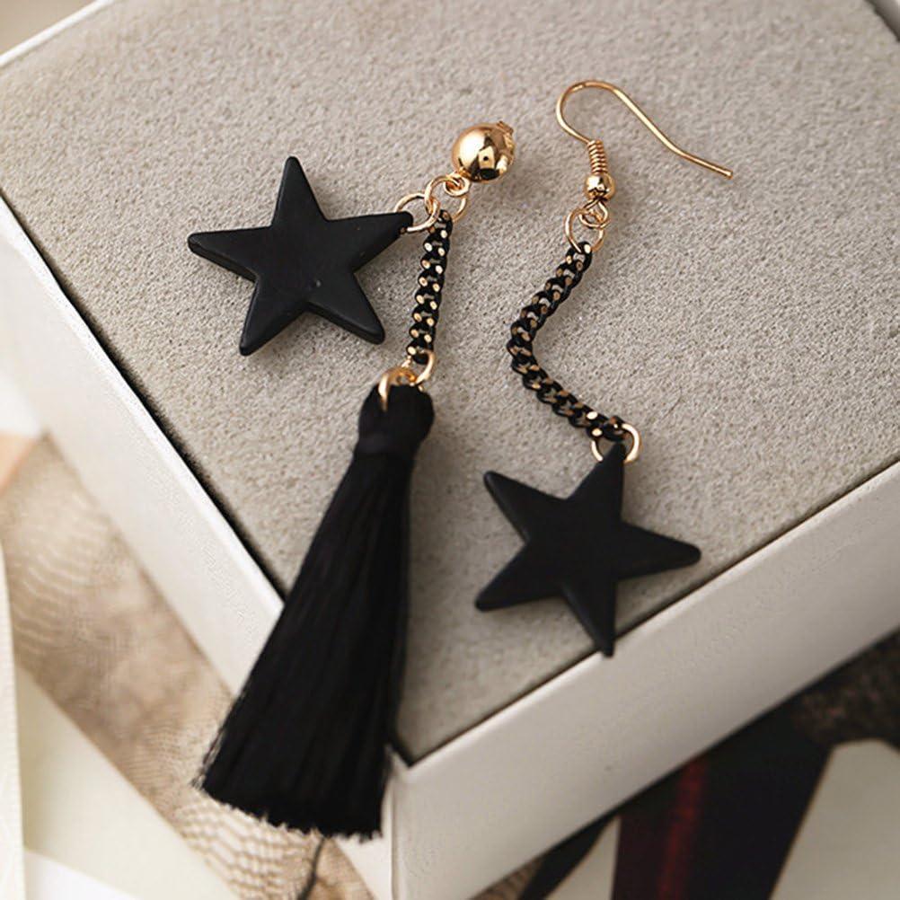 negro FENICAL Pendientes largos de la secci/ón de la estrella de la borla de la manera Pendientes asim/étricos Accesorios de las gotas para las mujeres