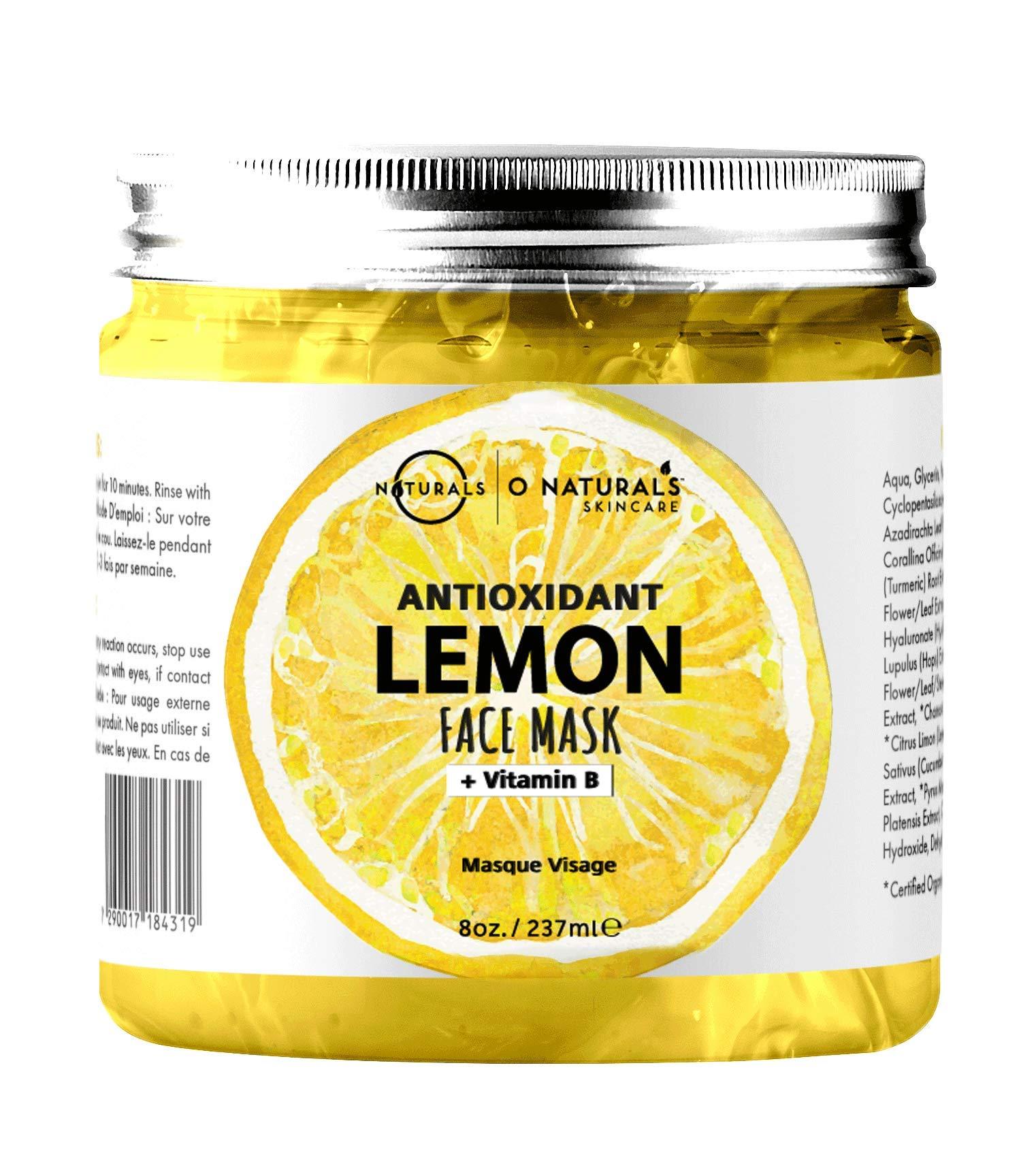 O Naturals Lemon Face Radiant Gel Mask Vitamin B Vegan Hydrating Acne Fighter Moisture Antioxidant Anti-Aging for All Type Skin Natural Organic Ingredients Hyaluronic Acid for Men-Women 8oz