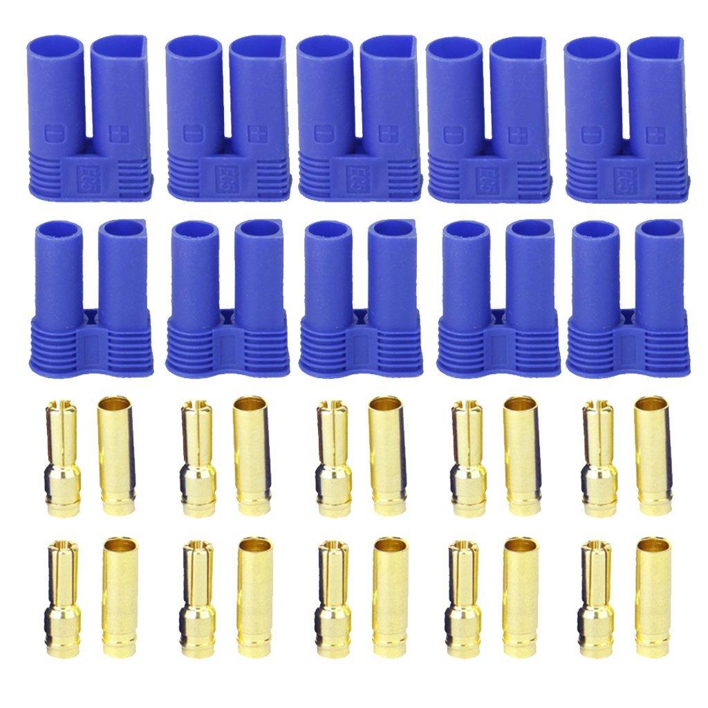 Sonline 5 Pairs of EC5 Banana Plug Bullet Connector Female+Male for RC ESC LIPO Battery/Motor