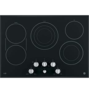 "GE Cafe Series 30"" Built-In Electric Cooktop Stainless Steel On Frameless Black Glass CP9530SJSS"