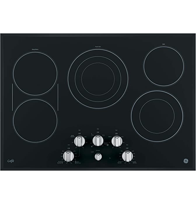 """GE Cafe Series 30"""" Built-In Electric Cooktop Stainless Steel On Frameless Black Glass CP9530SJSS"""