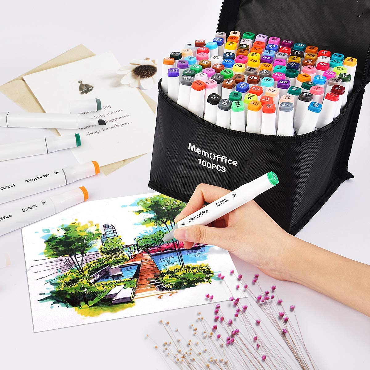 Sketch Markers Set for Kids Adults Artists Memoffice 100 Colors Dual Tips Alcohol Markers Highlighting Alcohol Based Markers with Carrying Case for Anime Design Painting Great Gift Idea