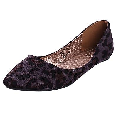 b1a6594fefaa Alexis Leroy Womens Leopard Design Low Top Ballet Flats Shoes Gray 3 UK /  36 EU