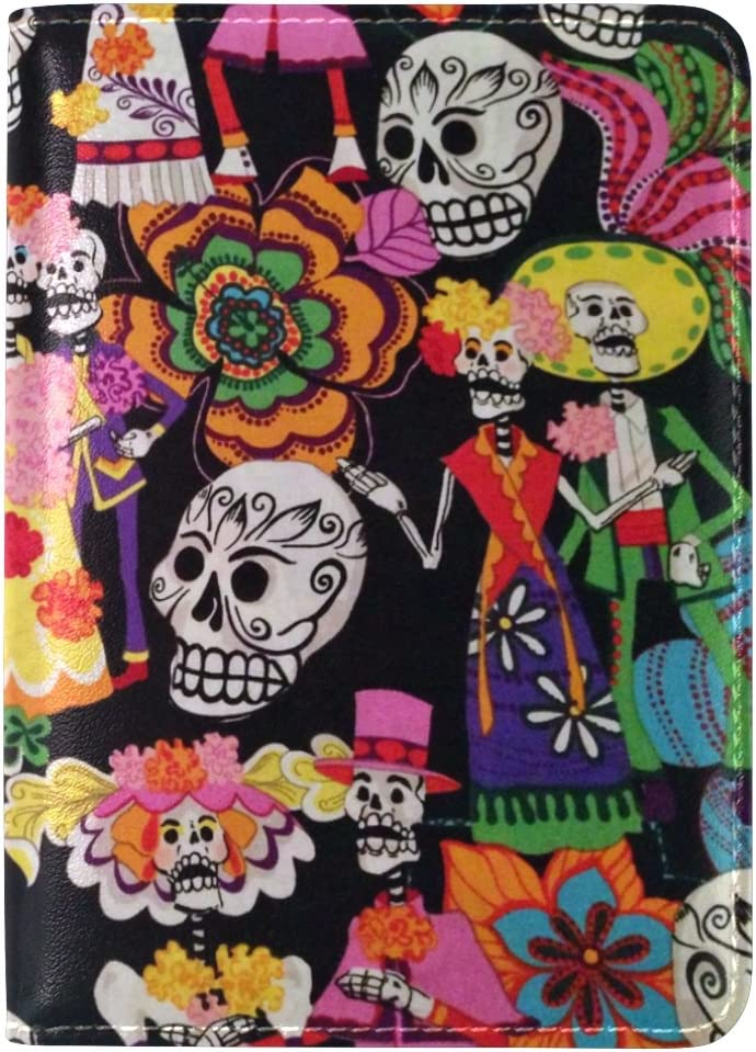 LEISISI Day Of The Dead Genuine Real Leather Passport Holder Cover Travel Case