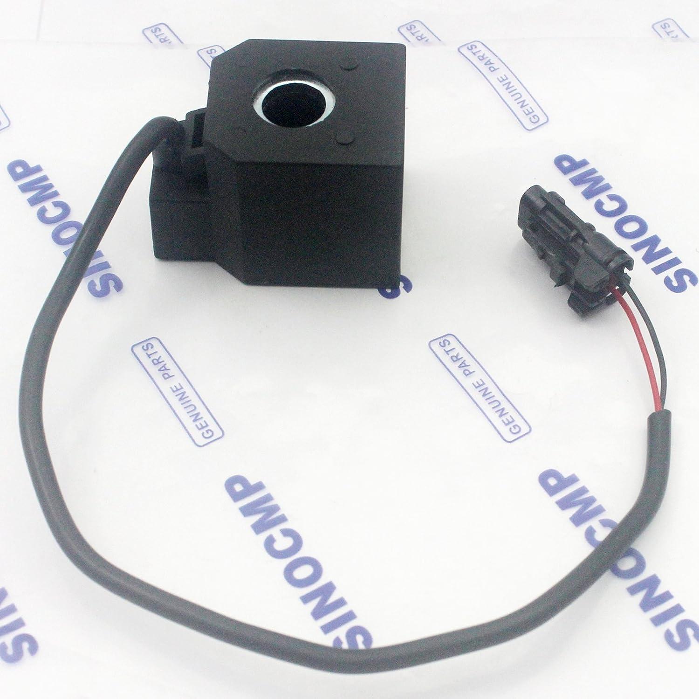 sinocmp DC 24/V bobina de v/álvula solenoide para Hyundai R215//–/7/R225//–/7/solenoide partes, 3/Meses de Garant/ía