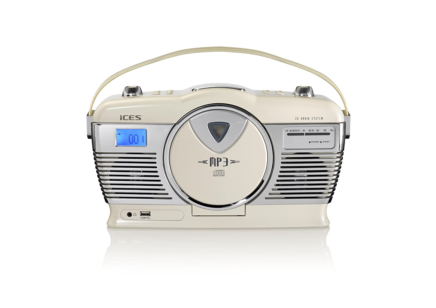 House Doctor Kussen : Ices iscd 33 tragbares retro radio mit cd mp3 player usb cremeweiß