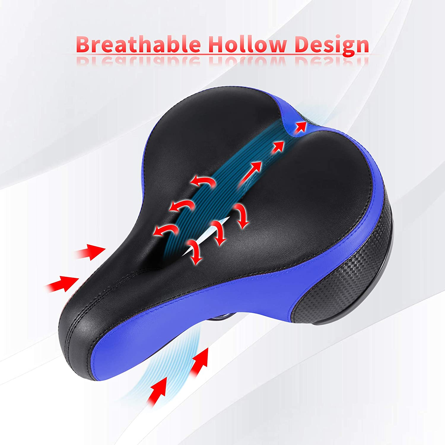 IPOW Comfort Bike Seat for Women or Men Bicycle Saddle Replacement Padded Soft High Density Memory Foam with Dual Shock Absorbing Rubber Balls Suspension Universal Fit for Indoor//Outdoor Bikes