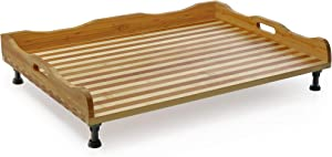 Prosumer's Choice Bamboo Stovetop Cover, Noodle Preparation and Cutting Board with Handles and Feet