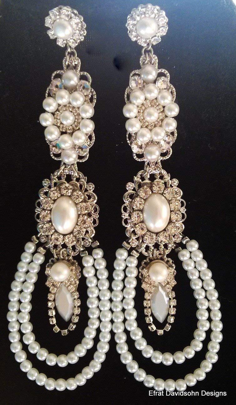 cb2132a079b79 Amazon.com: Pearls Bridal Earrings Silver Wedding Chandelier ...