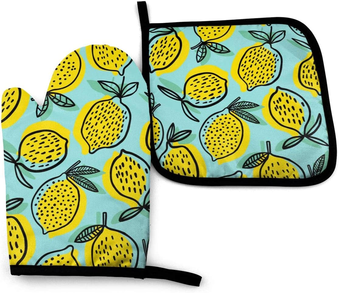 Abucaky Tropical Lemons Summer Theme Oven Mitts and Pot Holders Insulated Gloves & Kitchen Counter Safe Mats for Cooking BBQ Baking Grilling (2-Piece Set)