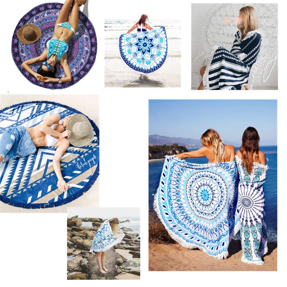 Fansu Toalla de Playa Redondo Cráneo, Microfibra la Playa Tapiz de Pared Manta Multi-Funcional para Toalla Yoga Acampar Picnic Mantel Decoración Viaje ...