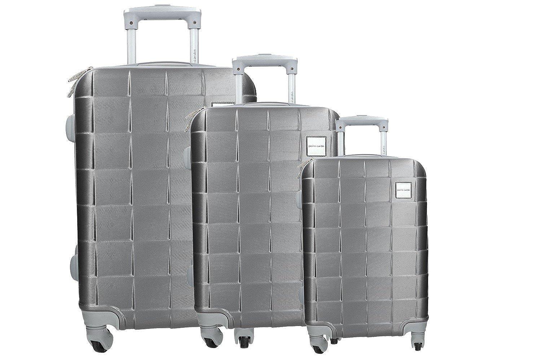 Set 3 valigie trolley PIERRE CARDIN rigido grigio PVC con bagaglio a mano VS346