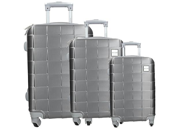 3 Maletas rígidas set gris cabina PIERRE CARDIN PVC equipaje de mano VS346: Amazon.es: Ropa y accesorios