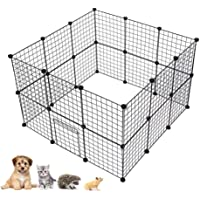 Pet Foldable Playpen, DIY Metal Wire Small Animal Exercise Fence Pet Cage for Cats, Puppy, Rabbit, Ferret, Guinea Pig, Bunny