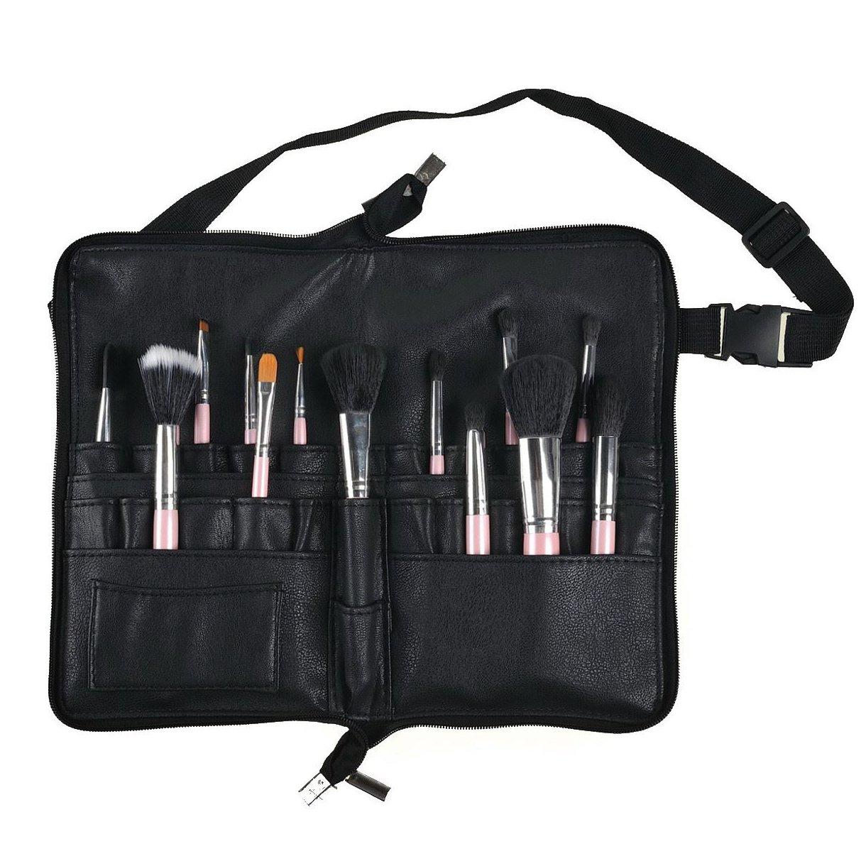 BestFire Borsa per spazzole per trucco professionale Borsa per portatile con 22 tasche Porta pennelli per cosmetici con cinturino in pelle per artista (spazzole non incluse)