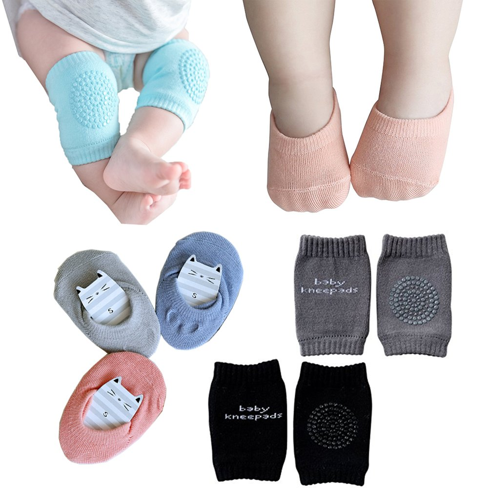 Baby Crawling Anti-Slip Knee and Anti Slip Baby Boys Girls Socks Best Infant Gift, Unisex Baby Toddlers Kneepads 2 Pairs, Soft Cotton Assorted Boys Girls Grip Walkers Socks 3 Pairs (Black Dark Grey)