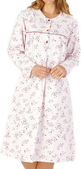 Slenderella camisón de Franela Floral de Manga Larga de algodón ...