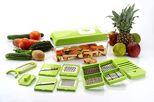 Buy Grossy 12 in 1 Plastic High-Grade Rust-Free Stainless Steel Blades Vegetable Choppers for Kitchen, Large (Green) - 15 Different Tools Online at Low Prices in India - Amazon.in