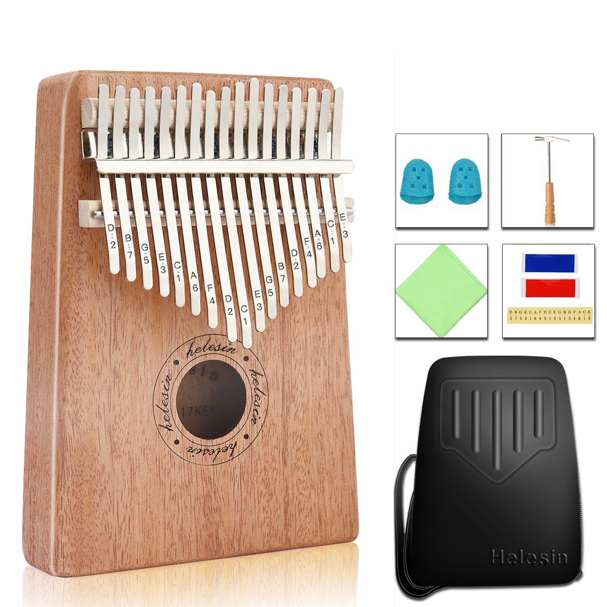 Kalimba 17 Key Thumb Piano, Solid Mahogany Body Finger Piano Mbira with EVA Waterproof Protective Case, Birthday Gift for Kids Adult Beginners