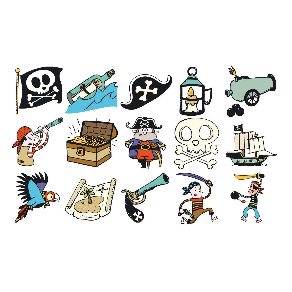 Aladine 3327 Stampominos - Lote de sellos de madera y tampón para decorar, diseño de piratas 03327 tampon