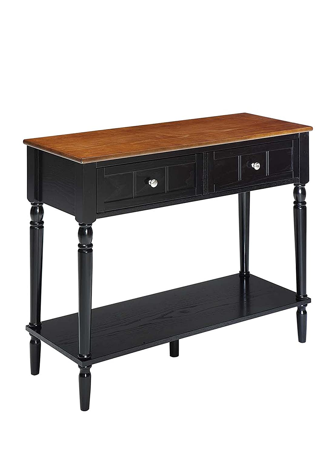Convenience Concepts French Country 2-Drawer Hall Table, Black 6050419BL