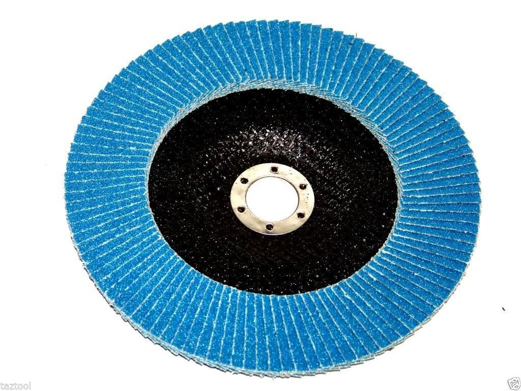 GHP Pack of 100 Premium 4-1/2'' x 7/8'' 60 Blue Flap Disc Sanding/Grinding Grit
