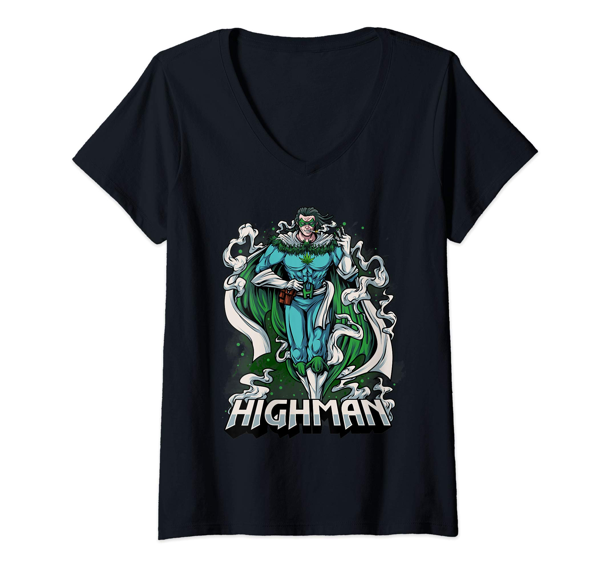 Womens Highman Funny Weed Superhero Gift For Weed Lovers V-Neck T-Shirt