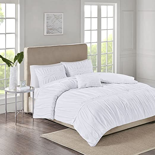 King King Grey 510 Design Ciera Ultra Soft Microfiber Ruched Bed Comforter Set Cal King Size