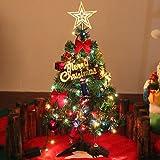 50 cm Albero di Natale di pino miniatura con gli ornamenti d'attaccatura, verde albero di Natale del ridurre in pani con le luci Le sfere di pino fungono le decorazioni dei mini tamburi